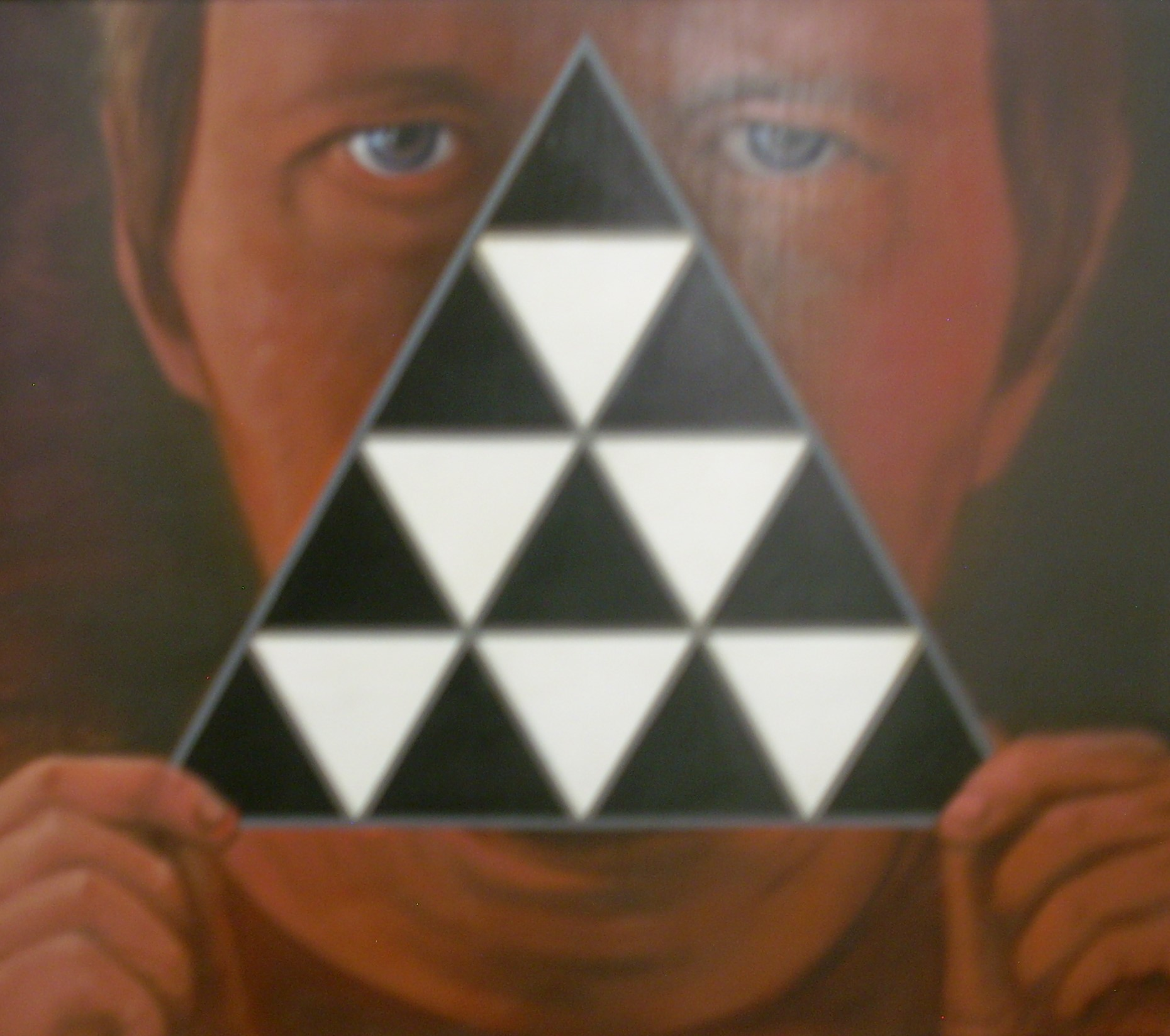 "Title: Self Portrait With Triangle  Artist:  Frank Jakum   Medium: Acrylic on Canvas  Dimensions: 20 1/2"" x 24""  Framed: Yes  Price: Contact for Inquiry"