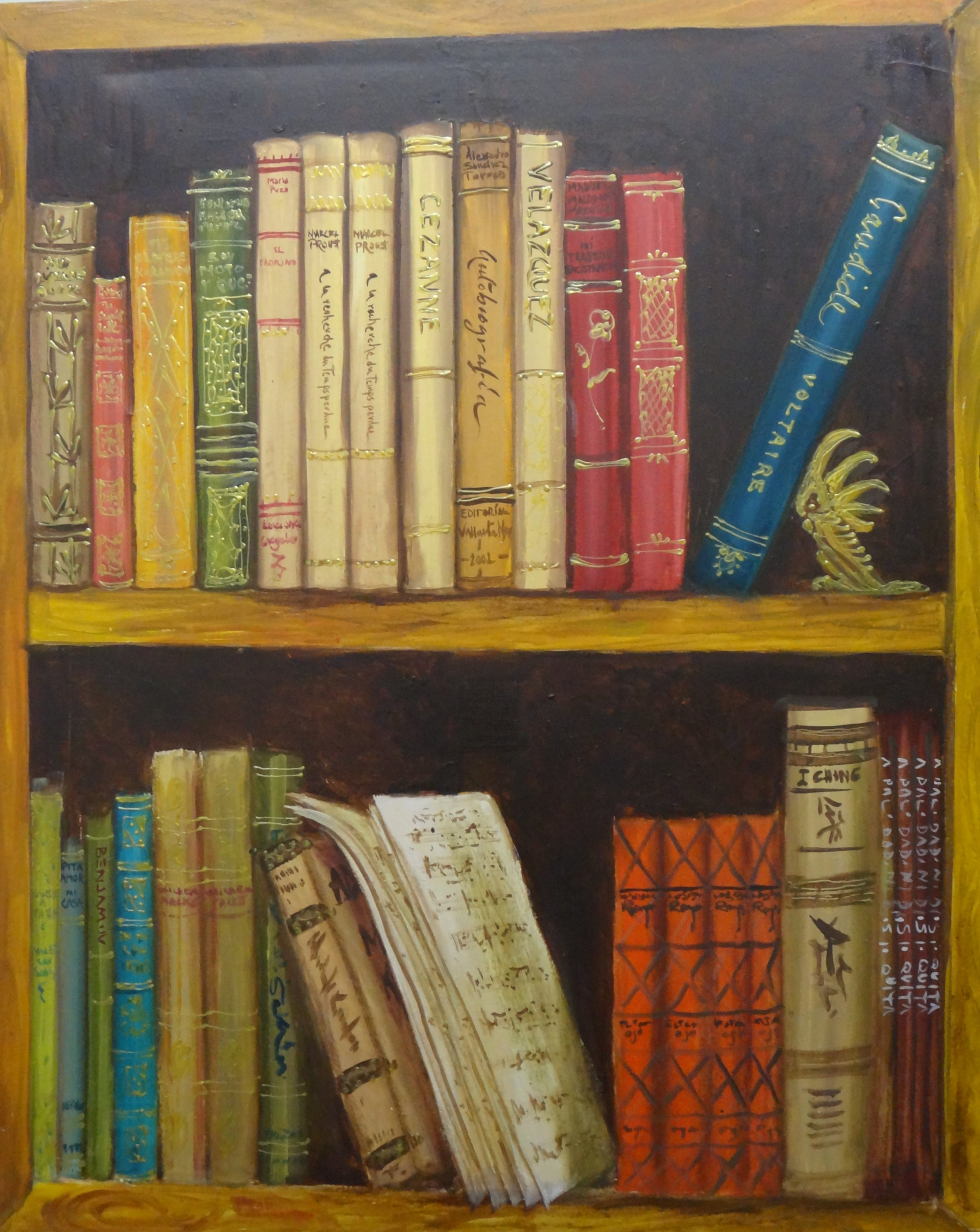 "Title: The Library  Artist:  Alex Sanchez Torres   Medium: Oil on Canvas  Dimensions: 39"" x 31""  Framed: No  Price: Contact for Inquiry"