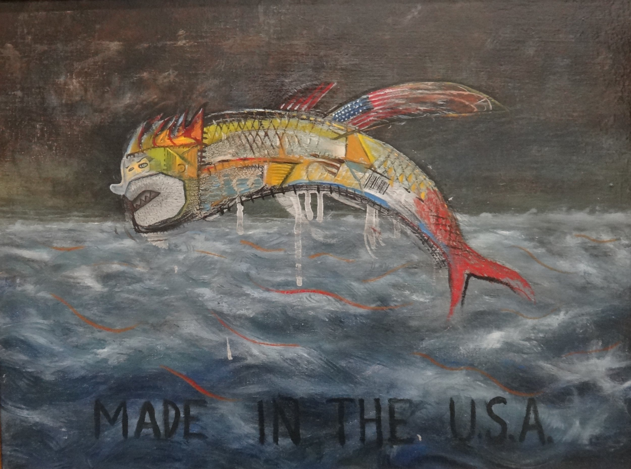 "Title: The Flying Fish  Artist:  John Harne   Medium: Oil on Liner  Dimensions: 15"" x 20""  Framed: Yes  Price: Contact for Inquiry"