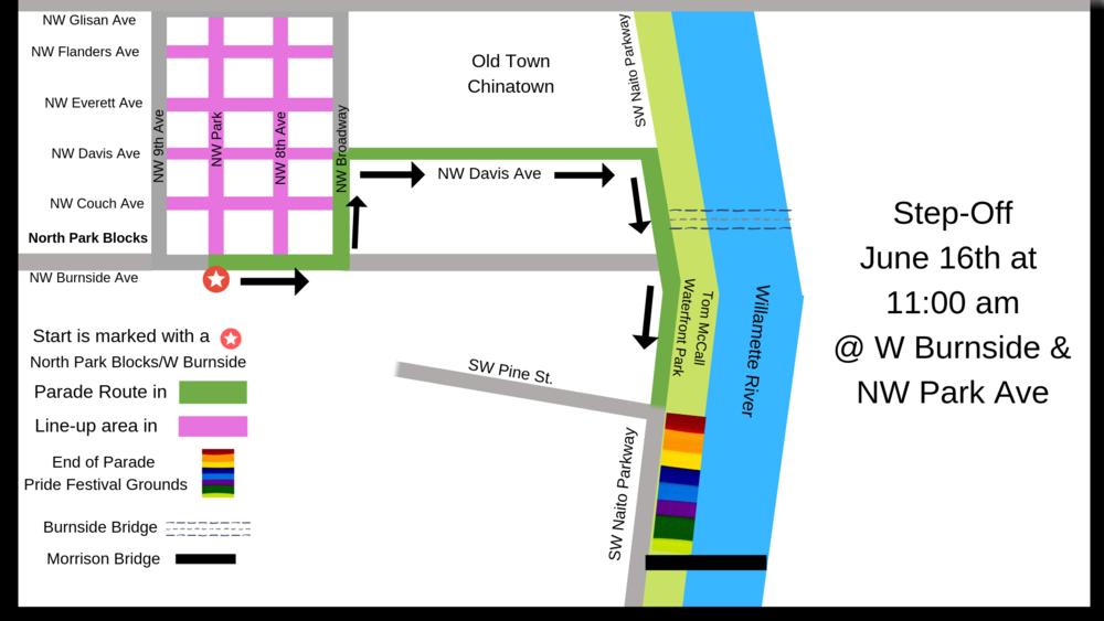 Portland Pride Parade Route