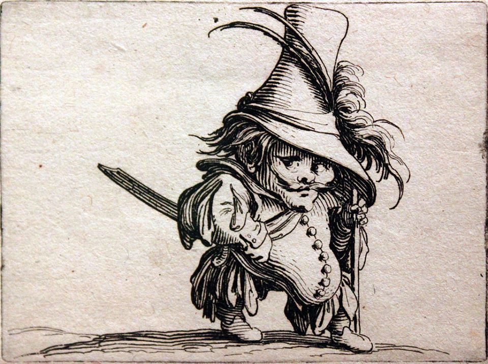The Potbellied Dwarf with the Tall Hat by Jaques Callot. c. 1616.