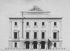 Facade of the theatre known as the Hôtel de Bourgogne at the time it was used by the Comédiens Italiens in the 18th century. Scan from the original work: Parouty, Michel (1998), L'Opéra-Comique. Paris: Asa Editions. ISBN 9782841100897. Page 14.