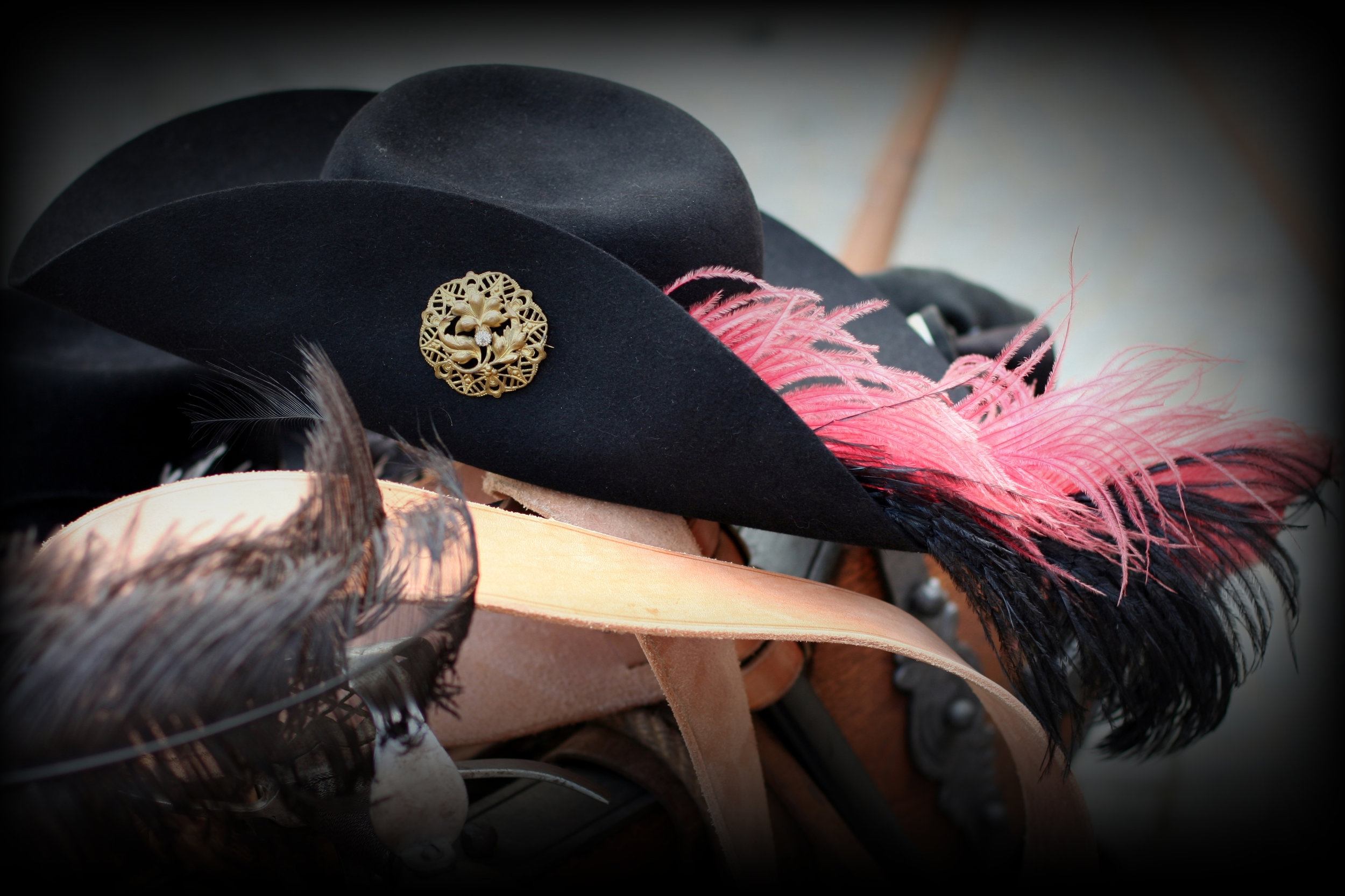 A fine hat resting on a sword baldric.