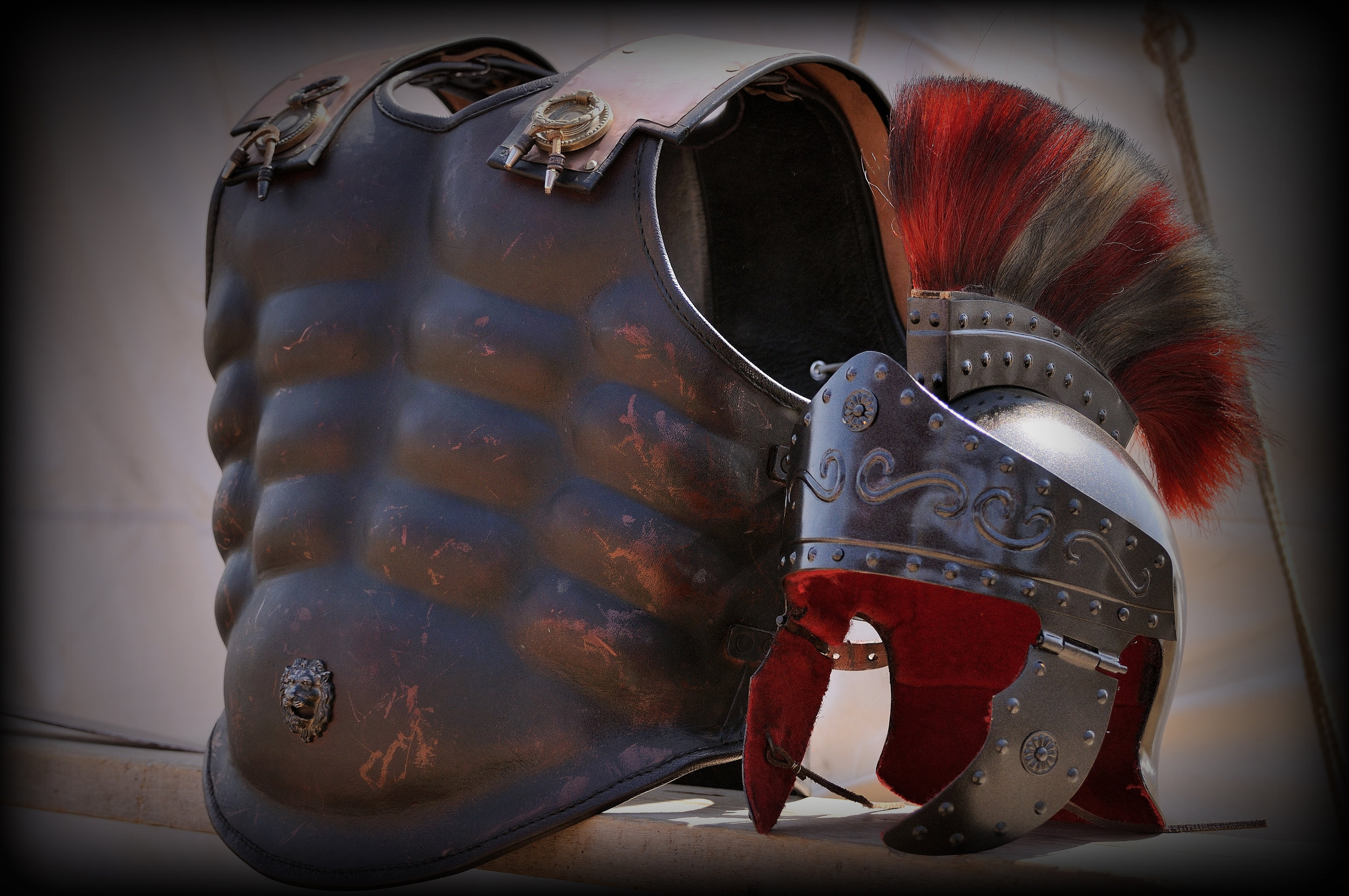 Roman armor awaiting the final battle between the forces of Brutus and Octavius.