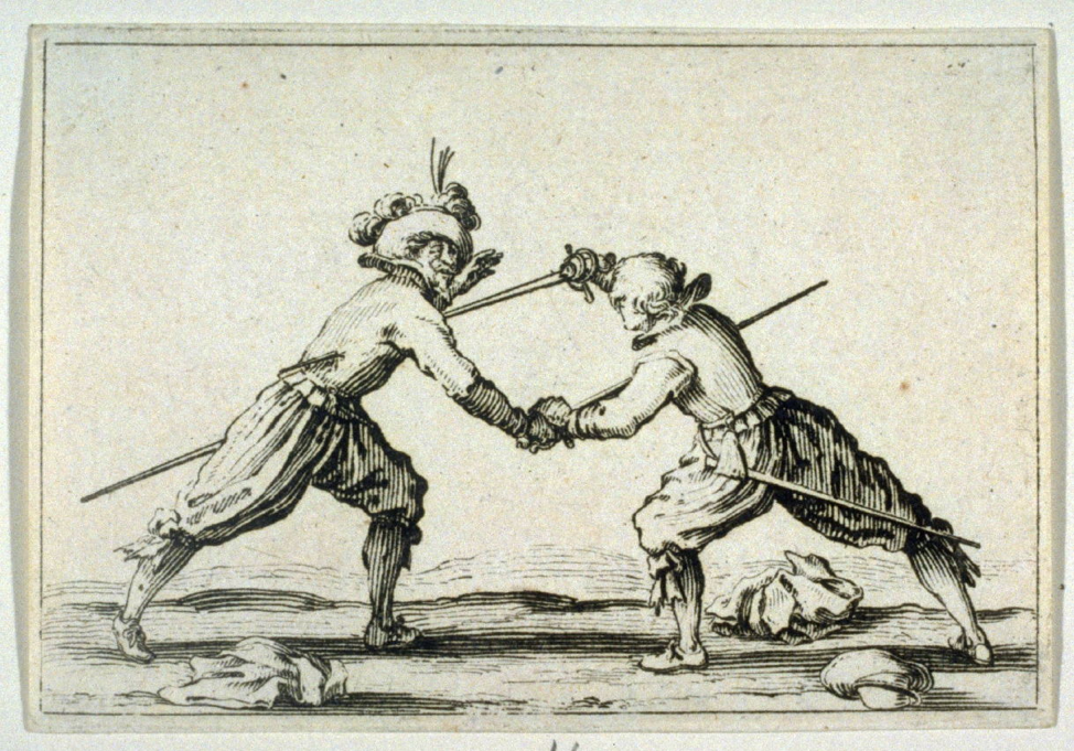 "Le Duel a L'Epee, plate 26 from ""Les Caprices"" (1617) by Jaques Callot  from The Fine Arts Museums of San Fransico."