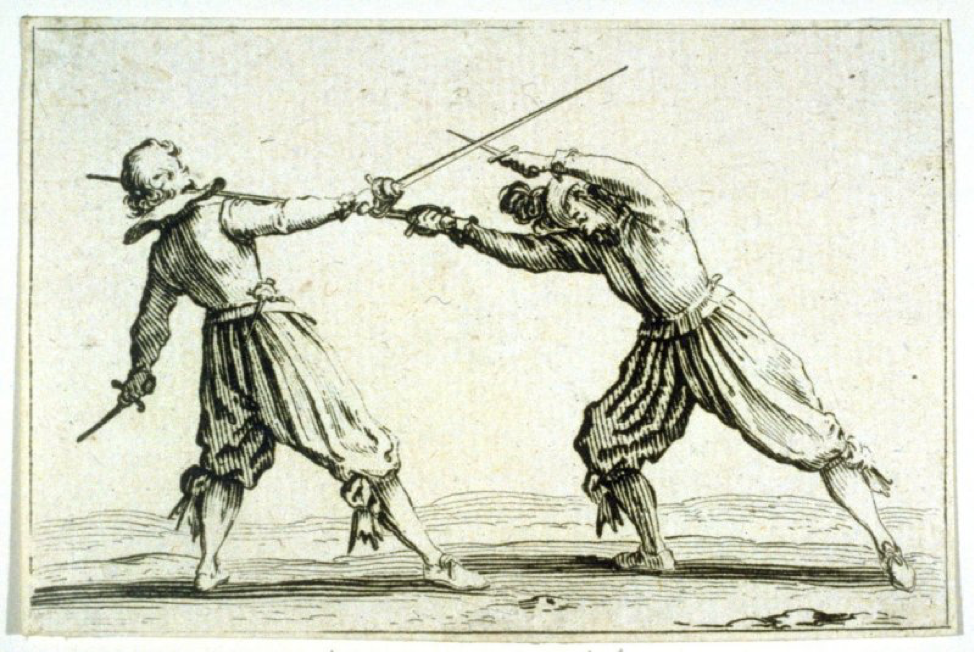 "Le Duel a L'Epee et au Poignard, plate 18 from ""Les Caprices"" (1617) by Jaques Callot  from The Fine Arts Museums of San Fransico."