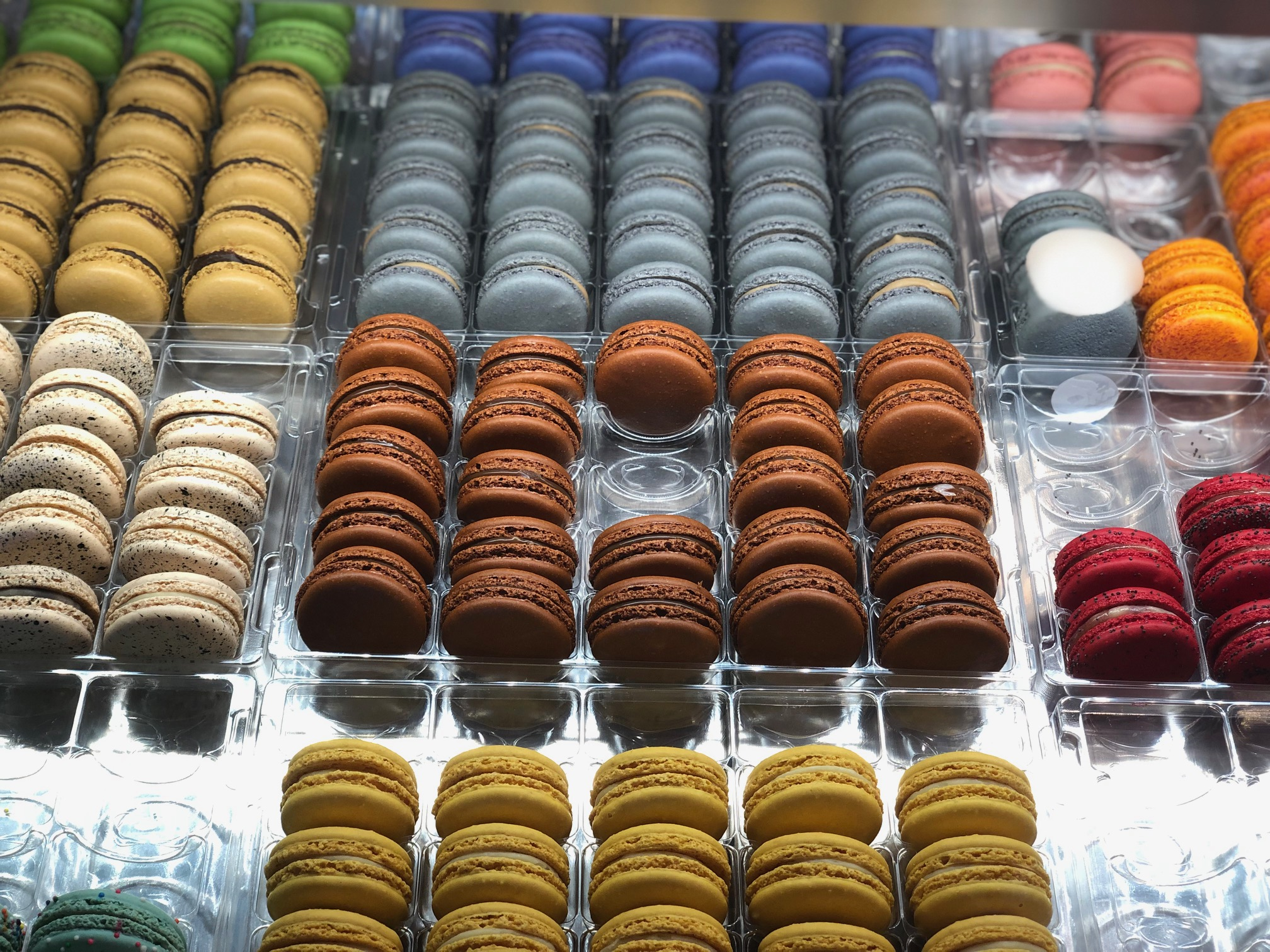 hand-made macarons in a wide selection of colors and flavors.