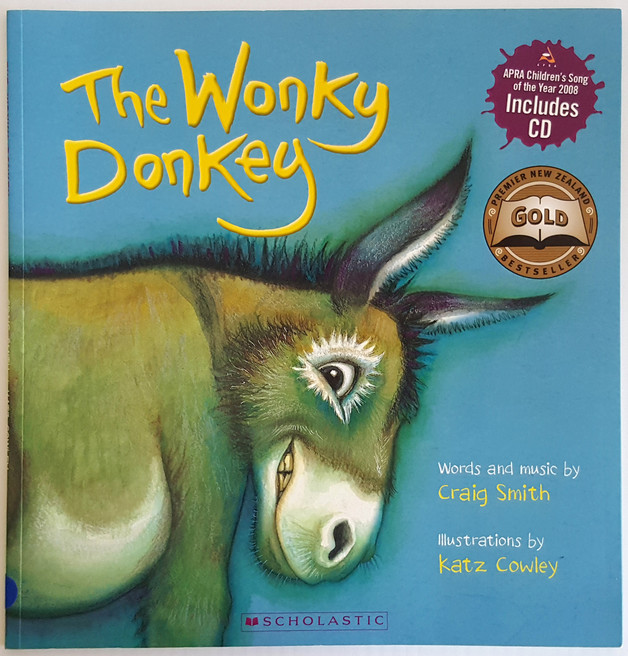 """The Wonky Donkey"" book cover by Katz Cowley."