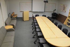B402 Biochem Library 20 at table, 6 on couch LED TV, Whiteboard Contact:  Biochem