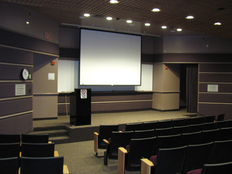 Munzer Auditorium: 101 seats Ground floor of Beckman Theater-Style Seating, Projector, Whiteboard, Podium  Calendar and Reservation Form