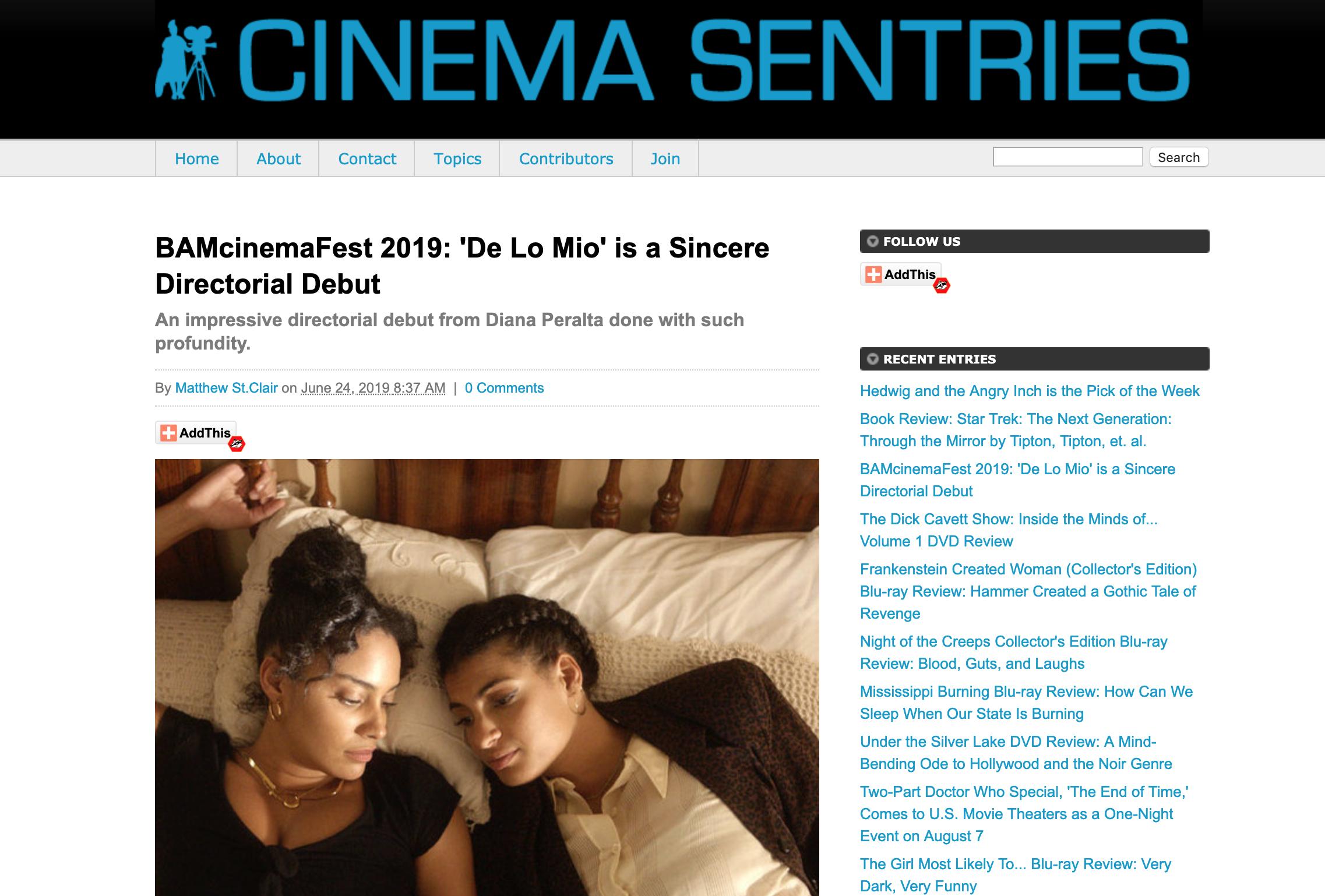 Cinema Sentries // Review of DE LO MIO