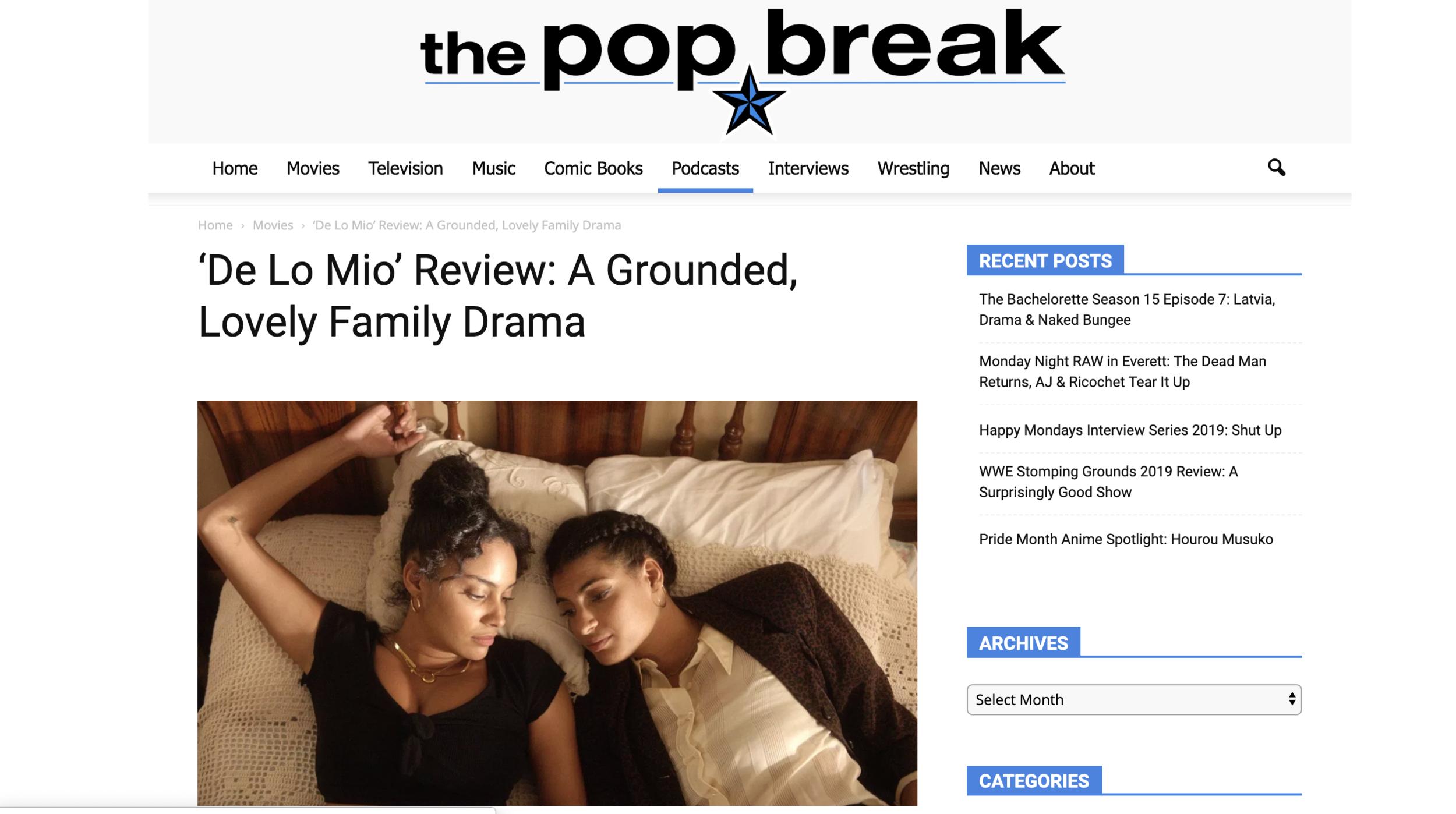 The Pop Break // Review of DE LO MIO