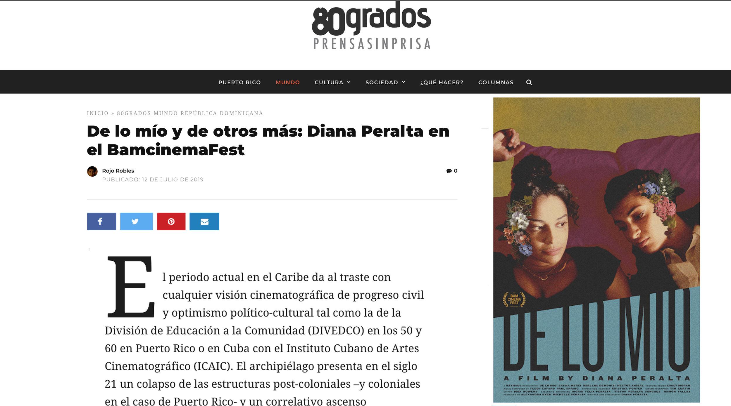 80 GRADOS // Review of DE LO MIO
