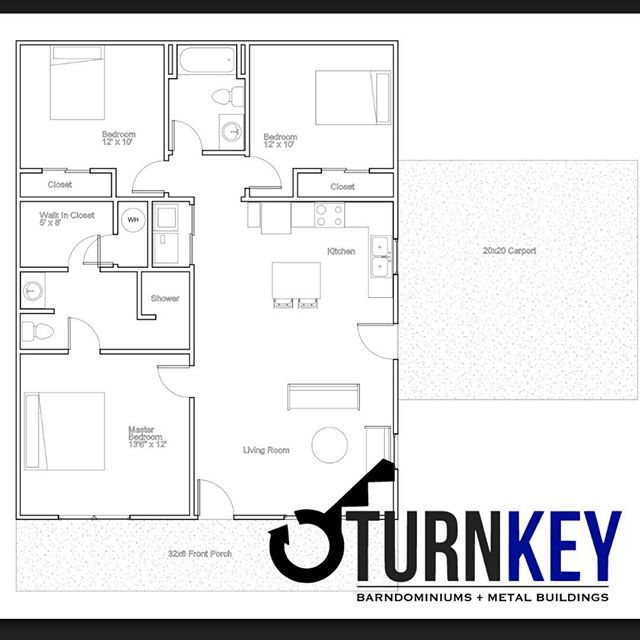 Here's our #CB2 floor plan.  We love customizing floor plans for our clients! #turnkeymetalbuildings #barndo