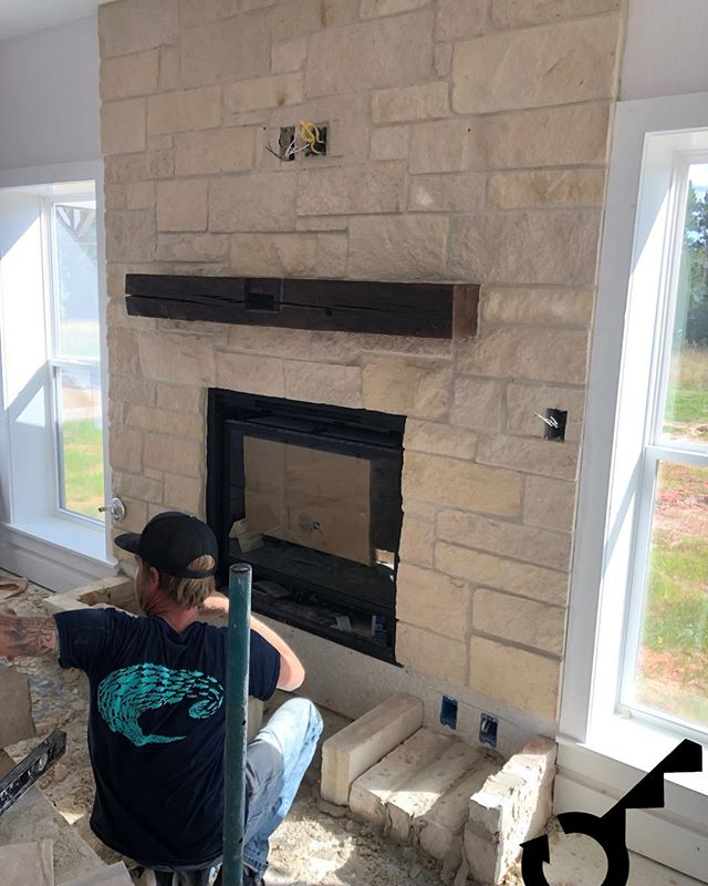 Check out this fireplace! Isn't it a beauty?  #HLproject #turnkeymetalbuildings #barndo