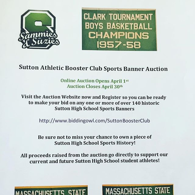 Get the word out....Sutton Sports Banner Auction opens April 1st!  Support the SABC and your student athletes!
