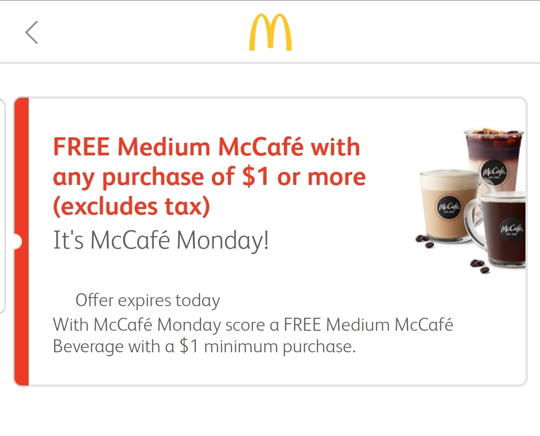 Screenshot From The McDonald's Mobile App.