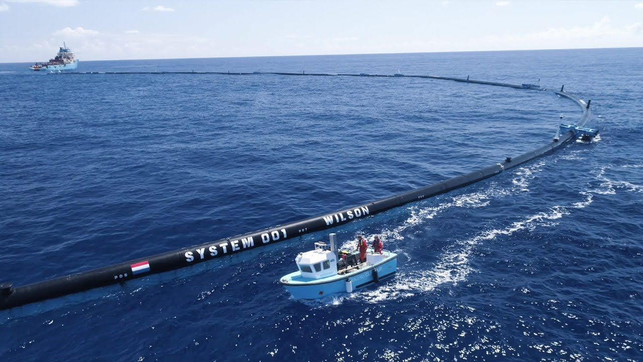 The Ocean Cleanup Project's system for cleaning the Great Pacific Garbage Patch.
