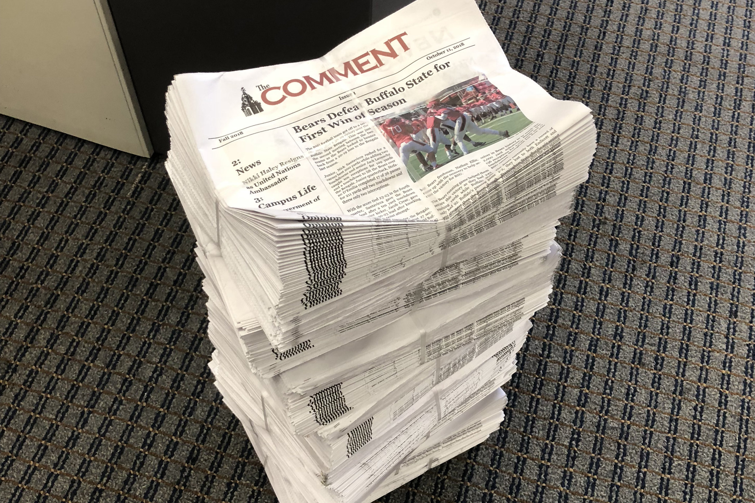 The most recent issue of The Comment, hot off the presses. Photo: Holly Pearson