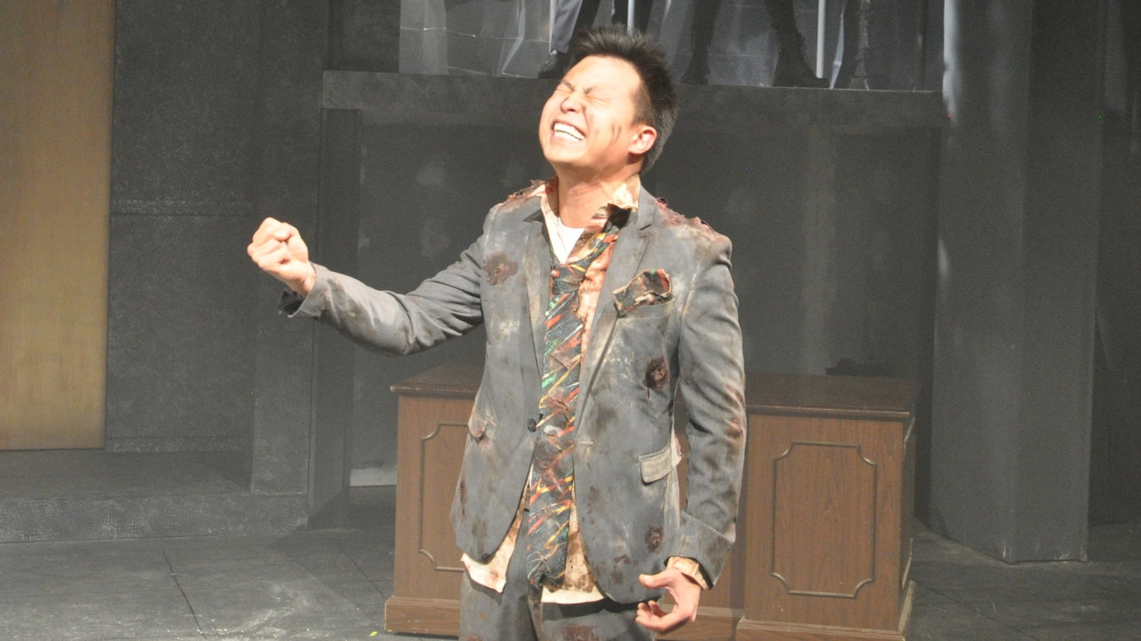 We're devastated too. (Jin Kim as 'Nakatomi' in 2018 at The Den Theatre. (c) Yippee Productions LLC)