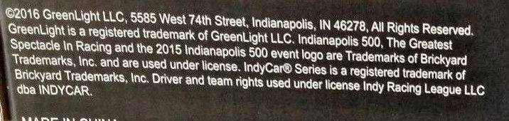 Note that the 2015 Indianapolis 500 event logo is stated as Trademarked yet it is not on the box.