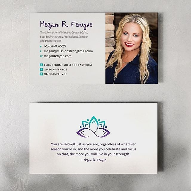 """#TBT to our friend Megan R. Fenyoe. Check out the business cards that we created. Megan is an entrepreneur, best selling author, coach, professional speaker, and podcast host. She recently came out with a book called """"You Are Enough"""" which you can find on amazon. """"These cards look amazing!! I truly love them"""" - Megan Fenyoe  GoodLight Creative is offering a holiday special through the month of December for 20% off all logos and business card designs. We would love to help your business shine!  Check out our website at www.goodlightcreative.com  #branding #entrepreneur #graphicdesign #businesscardsdesign #businesscards #graphics #design #instagram #igers #instadaily #logos"""