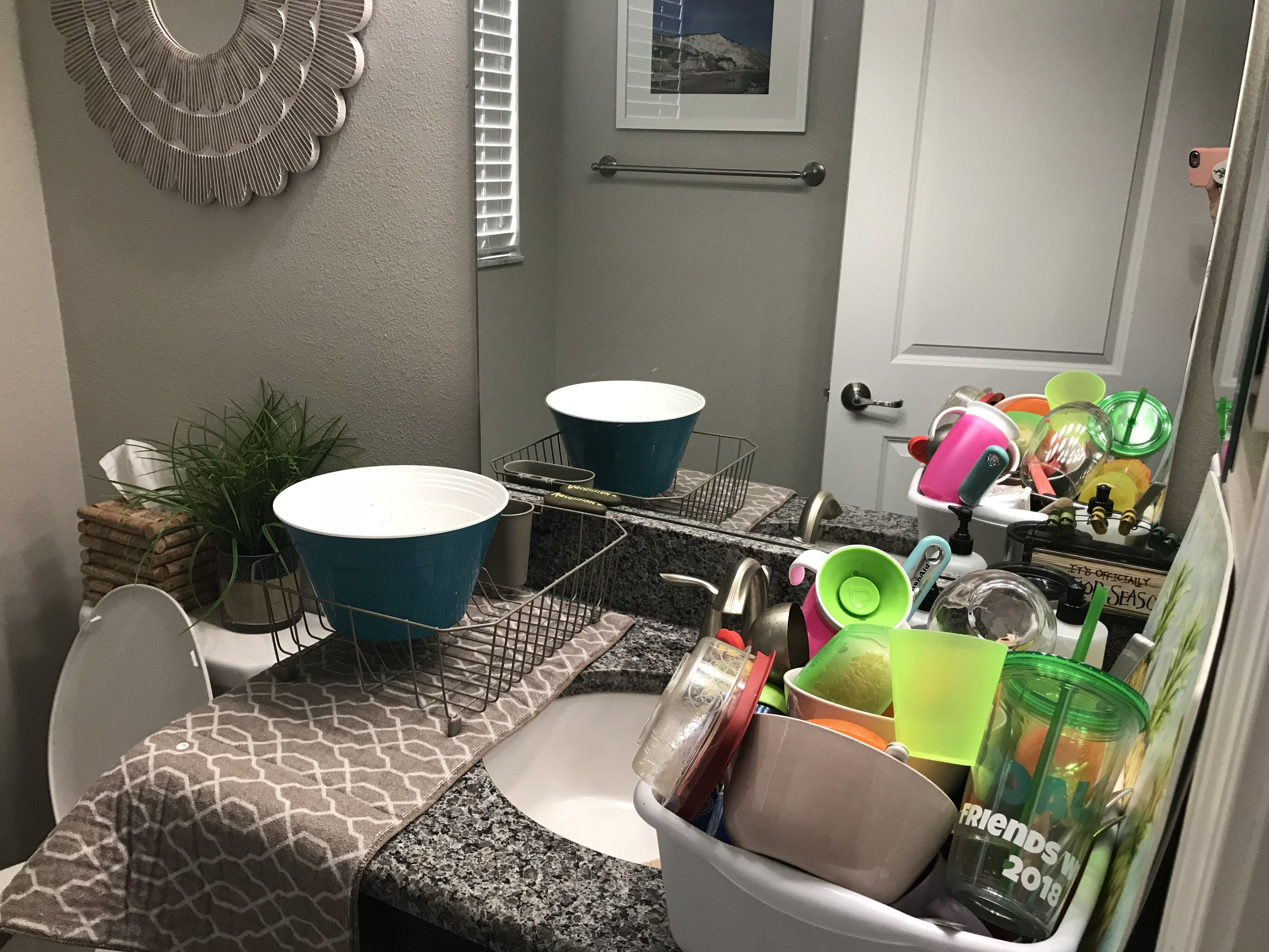 This is real life what our guest bathroom has looked like for the past month and a half. HELP ME.