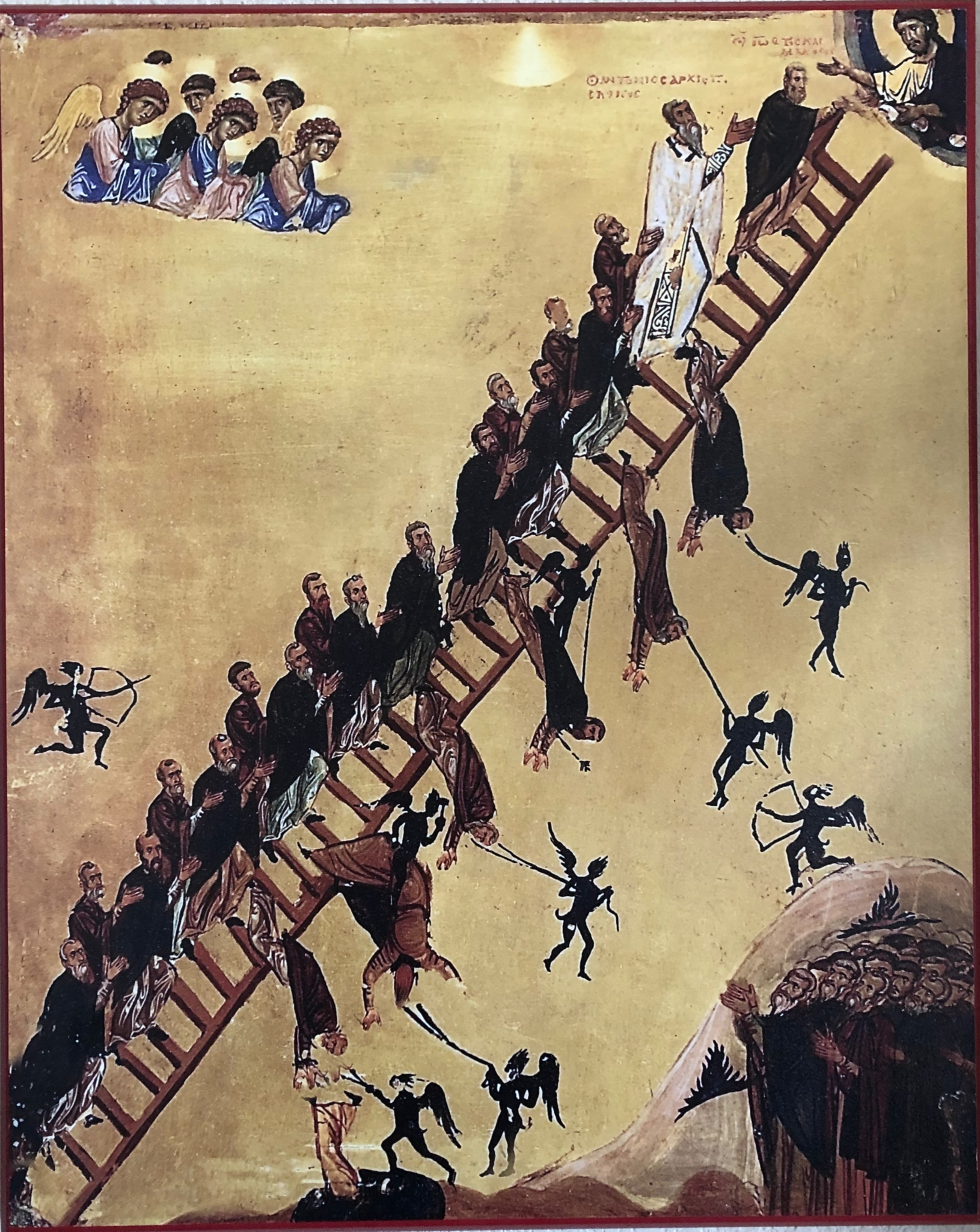 more on the ladder - At Christian Martial Fitness, we use the image of a ladder to explain our philosophy. The ladder begins with our earthly bodies and points towards our transfigured heavenly bodies. The outer rails represent our free will on one side and God's will on the other. The rungs (or steps) connect our will with God's, and in our philosophy, martial fitness successfully does just this. God has called us to serve the world by teaching how you can find the peace and joy that only God can give through climbing the Christian Martial Fitness ladders.