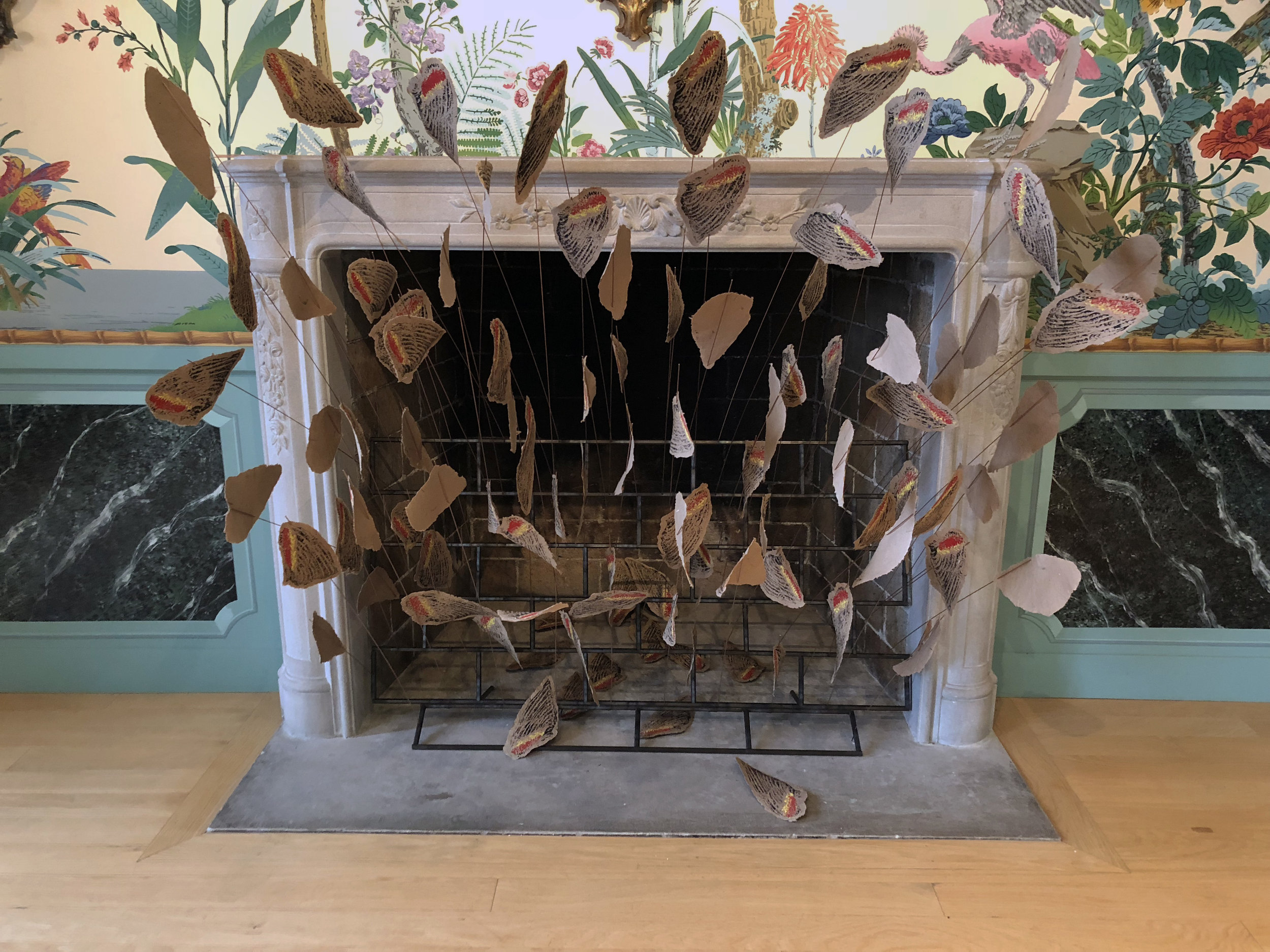"""THE LIMITS OF PARADISE II,  site-specific installation: laser-cut woodblock print on handcast paper, steel 54""""h x 45""""w x 30""""d 2018 shown in the Zubar wallpaper room of the Villa Terrace Museum of Decorative Arts, """"Look Here"""" exhibition"""