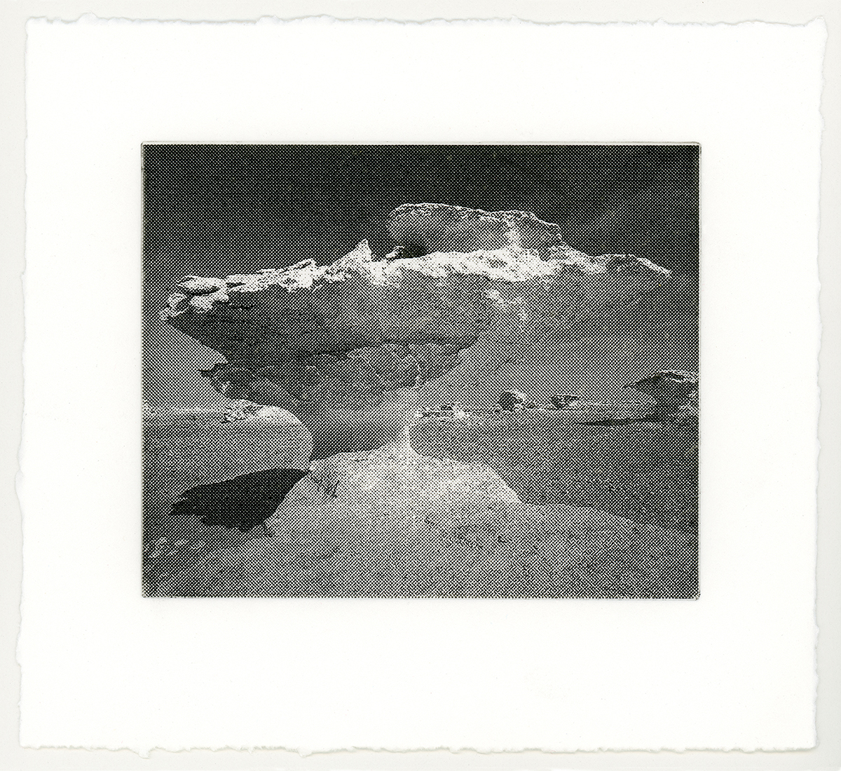 """CLOUD 4  from a suite of 4 solar-plate etchings each 6"""" x 7"""" 2018"""