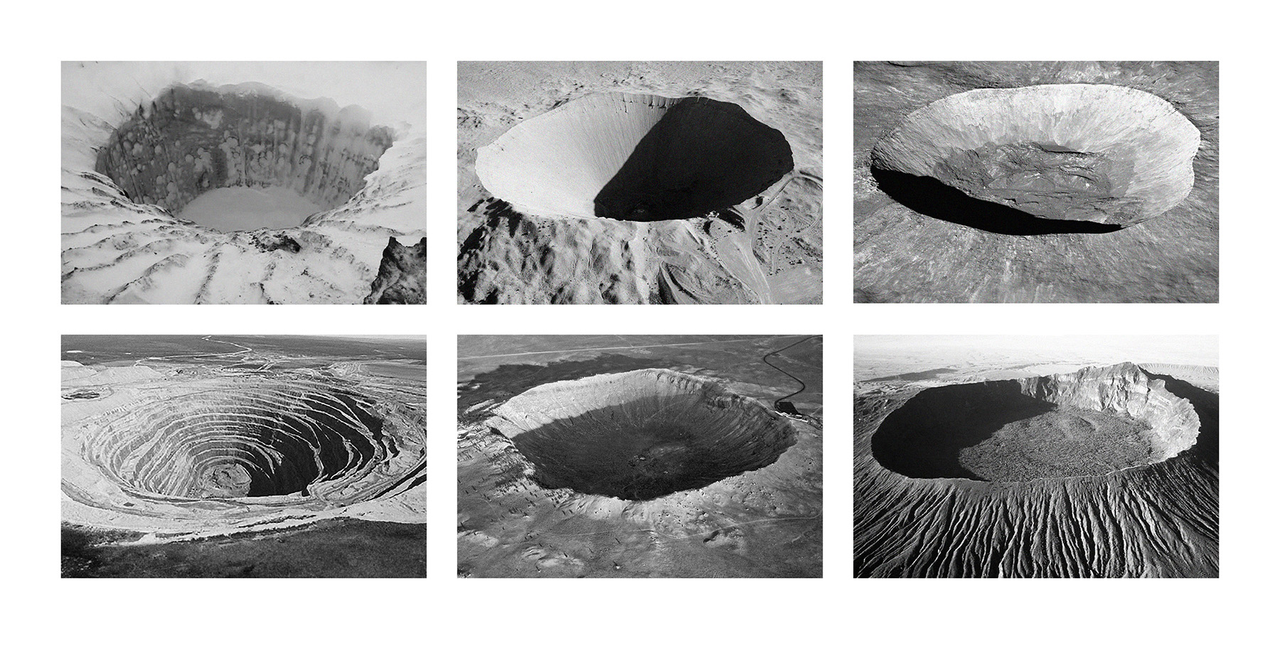 """SIX CRATERS  photographic print 12"""" x 22"""" 2017"""
