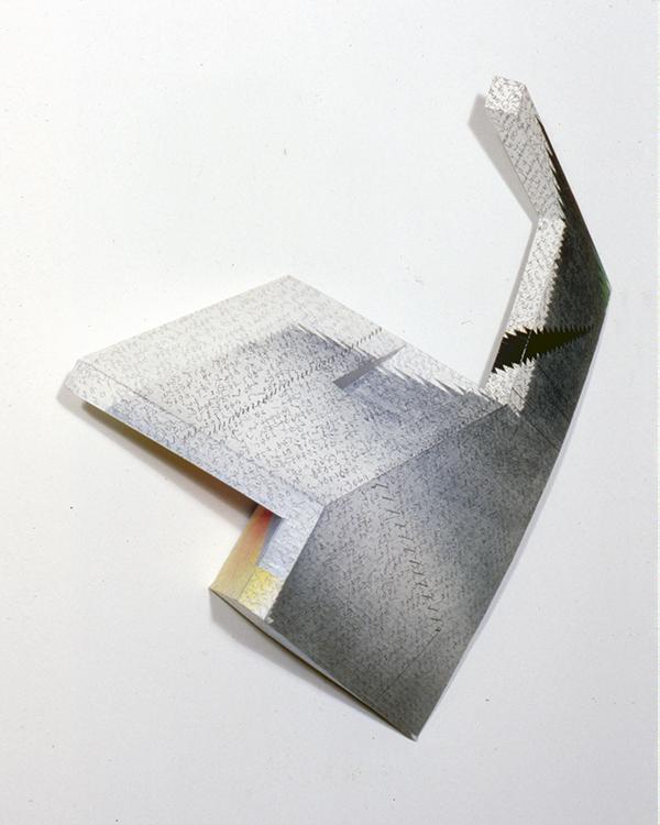 """ATTEMPT  wood papier mâché, mixed media 21""""h x 18""""w x 10"""" d 1985"""