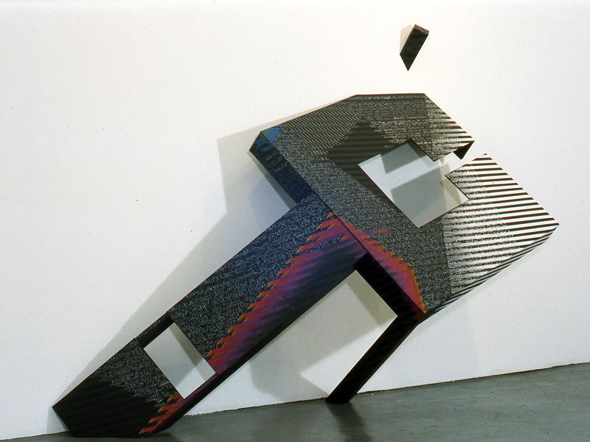 "DOLMER  wood, paper, mixed media 6'h x 12""w x 4""d 1988"