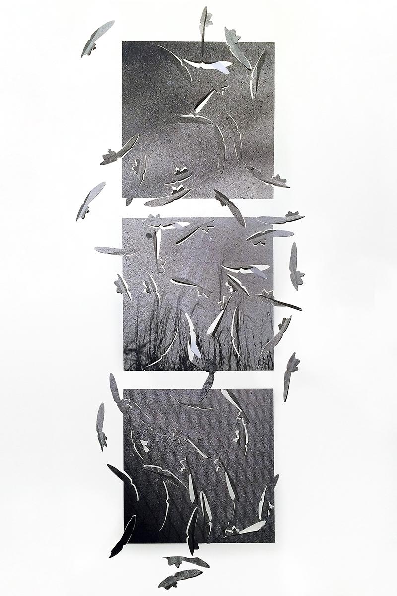 """17-19-13 LEAFLETS  triptych,   cut photographic film, 95""""h x 40""""w x 2""""d 2017"""