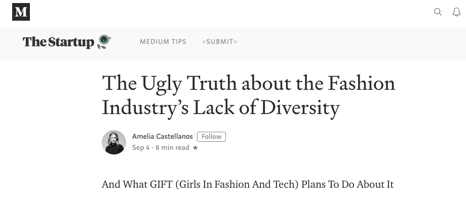 Amelia Castellanos talks fashion, diversity and women's labor. Check out her article on Medium featuring our Founder, Brittany Hicks.
