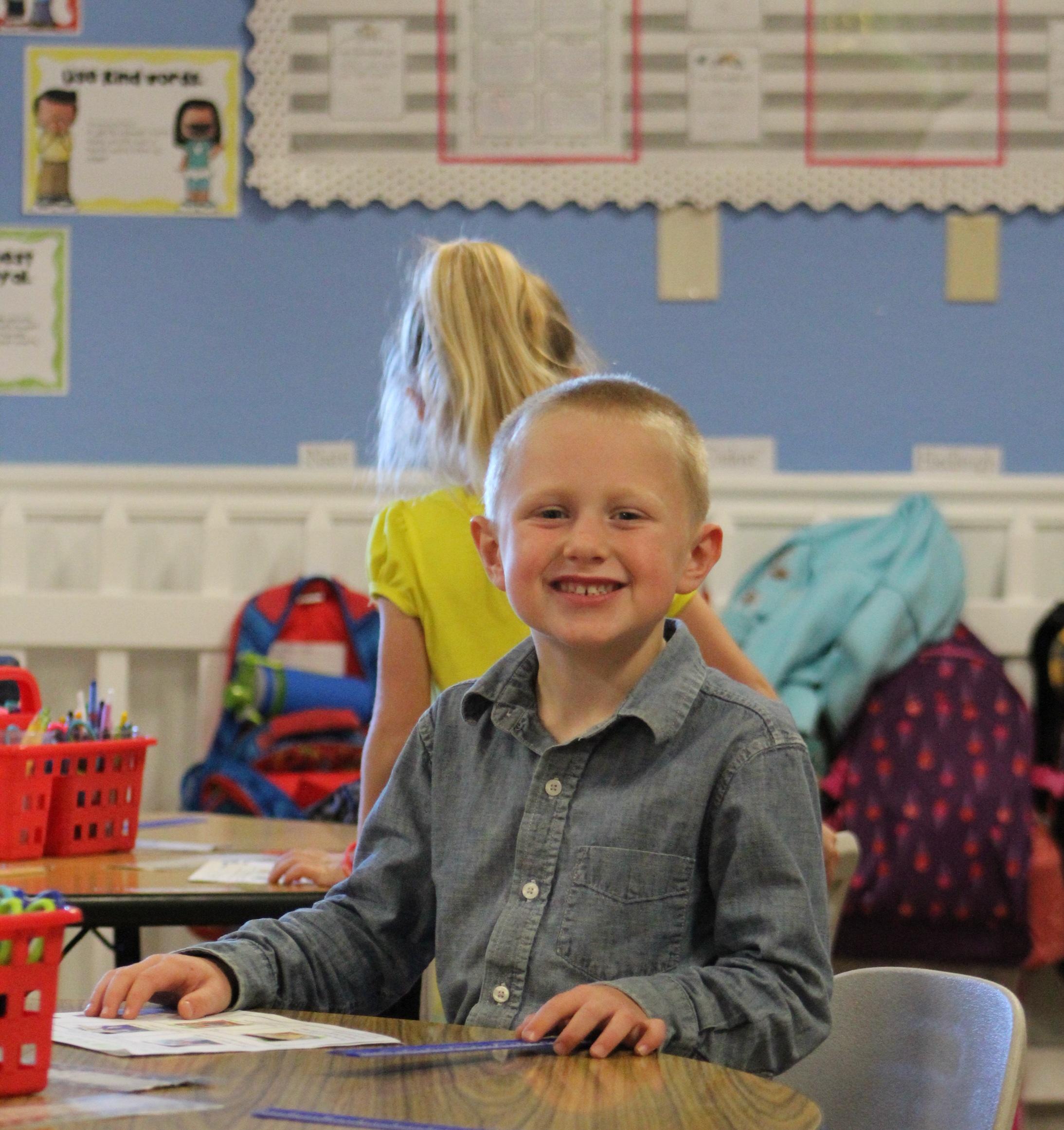 Kindergarten Student in Classroom