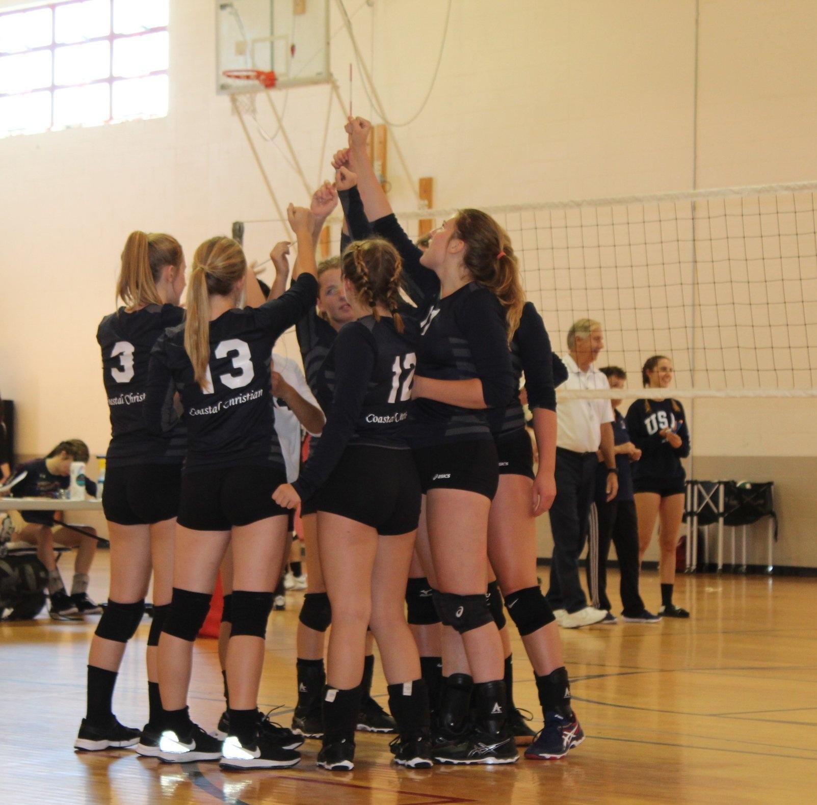 High School Volleyball Team Huddles