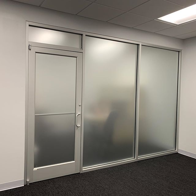 Frosted vinyl installed on these office windows. . . . #frostedvinyl #frosted #officewindows #atlanta #buckhead #buckheadatlanta