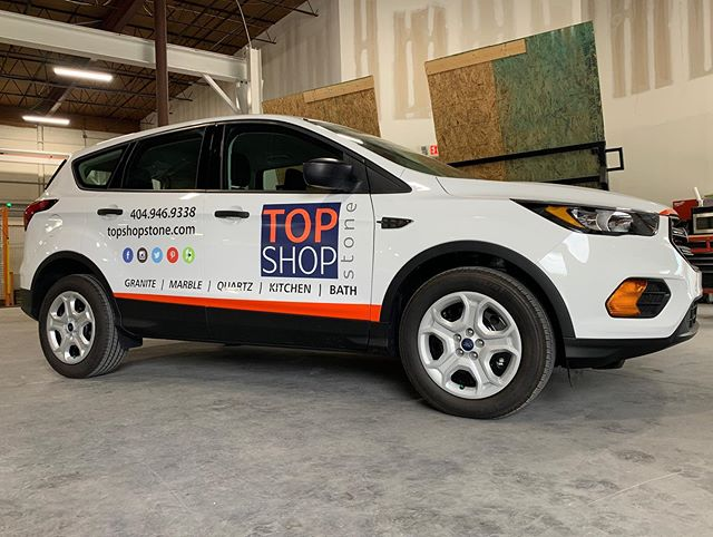 @topshopstone Vehicle Graphics.  We design, print and installed. . . . #granite #marble #countertops #kitchen #bath #vehiclegraphics #carwraps #graphicdesign #atlanta