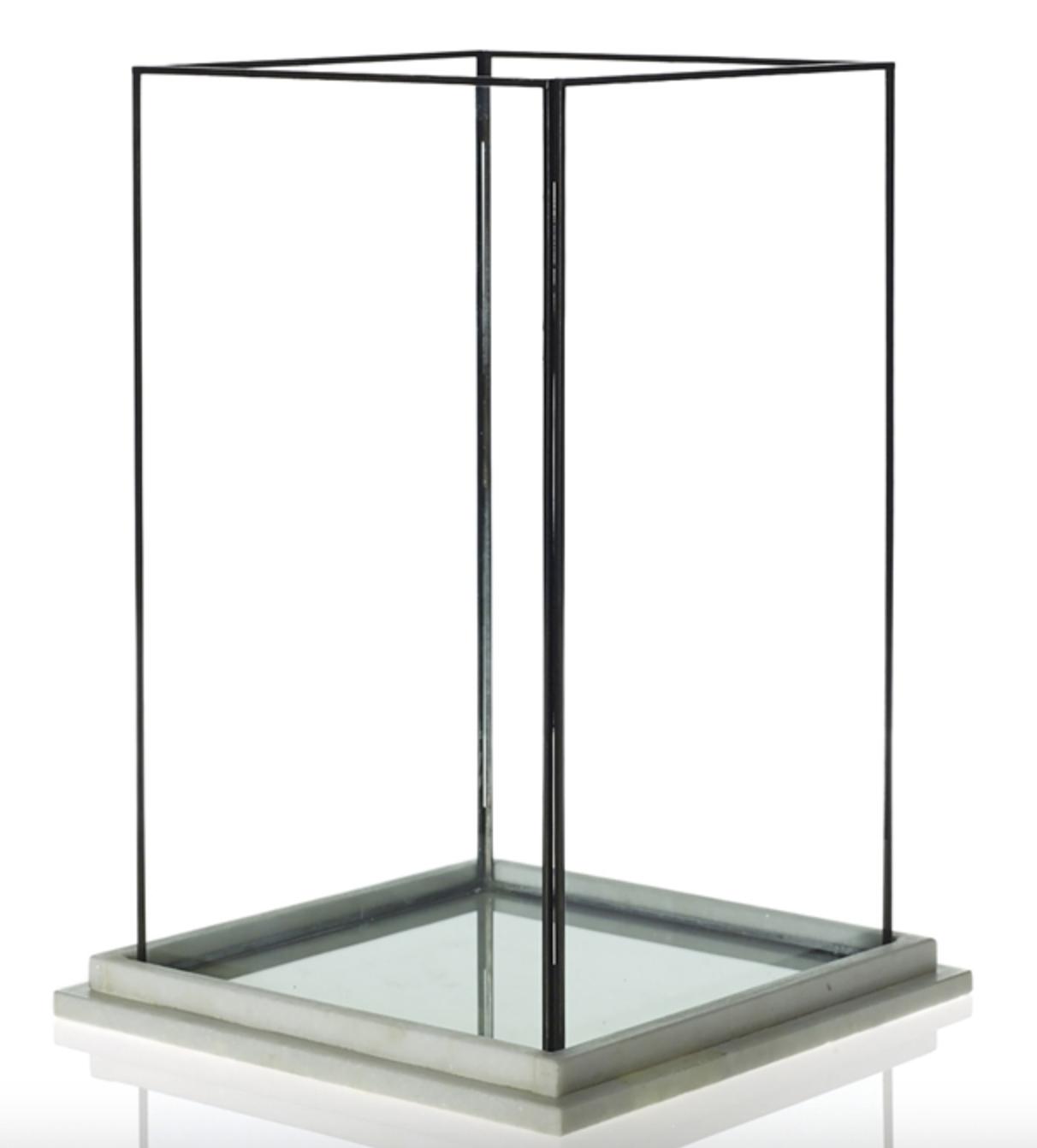 Rectangular Glass Lantern w/ Marble Base- Large & Medium