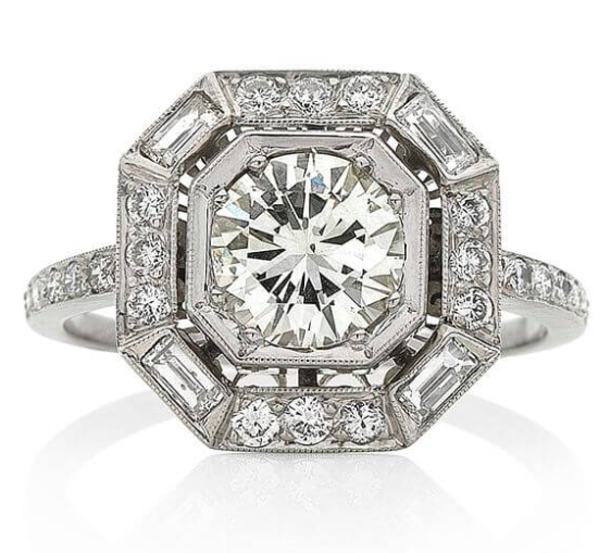 Keshett - Art Deco Inspired 1.63 Carat Diamond Platinum Ring