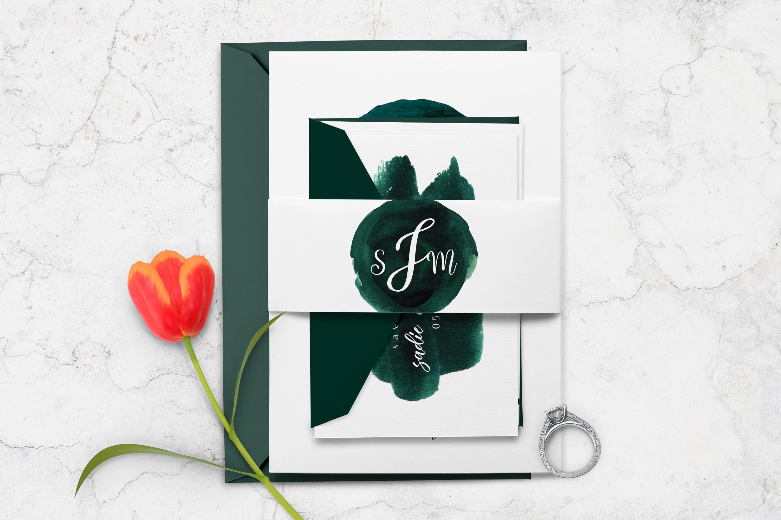 Sapphire Digital Works - Watercolor Emerald Green Wedding Invitation