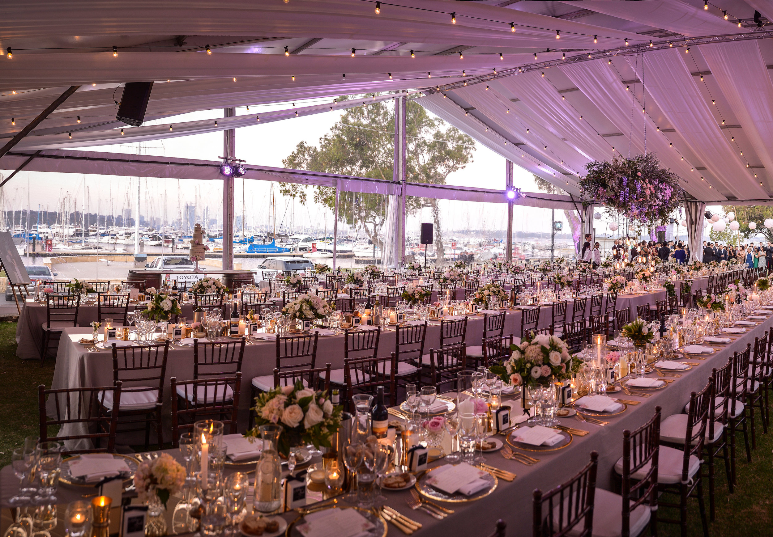 Waterfront wedding venue with marquee at Royal Perth Yacht Club