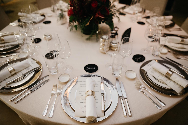 Wedding table styling for dinner at the Residence, Grand Hyatt Melbourne