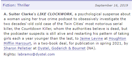 Official deal announcement from Publishers Marketplace