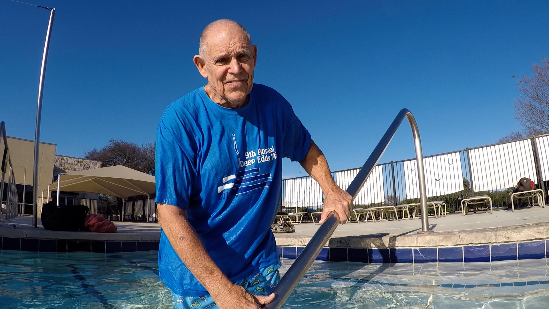 Swim-A-Day is brought to you by a Living Legend. - Texas swimming legend, Dotson Smith is 81-years-old. He has been teaching swimmers for 60 years and is still going strong and ready to coach you.Click here to learn more about Dotson Smith➝