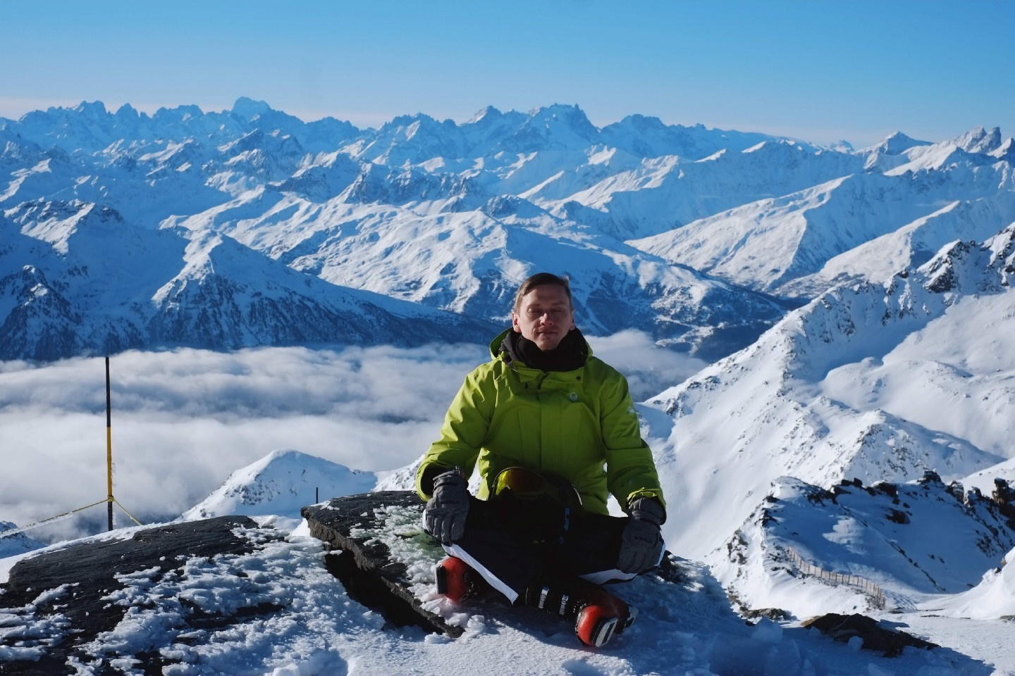 Me practicing at 10,000ft. Photo by me from the French Alps.