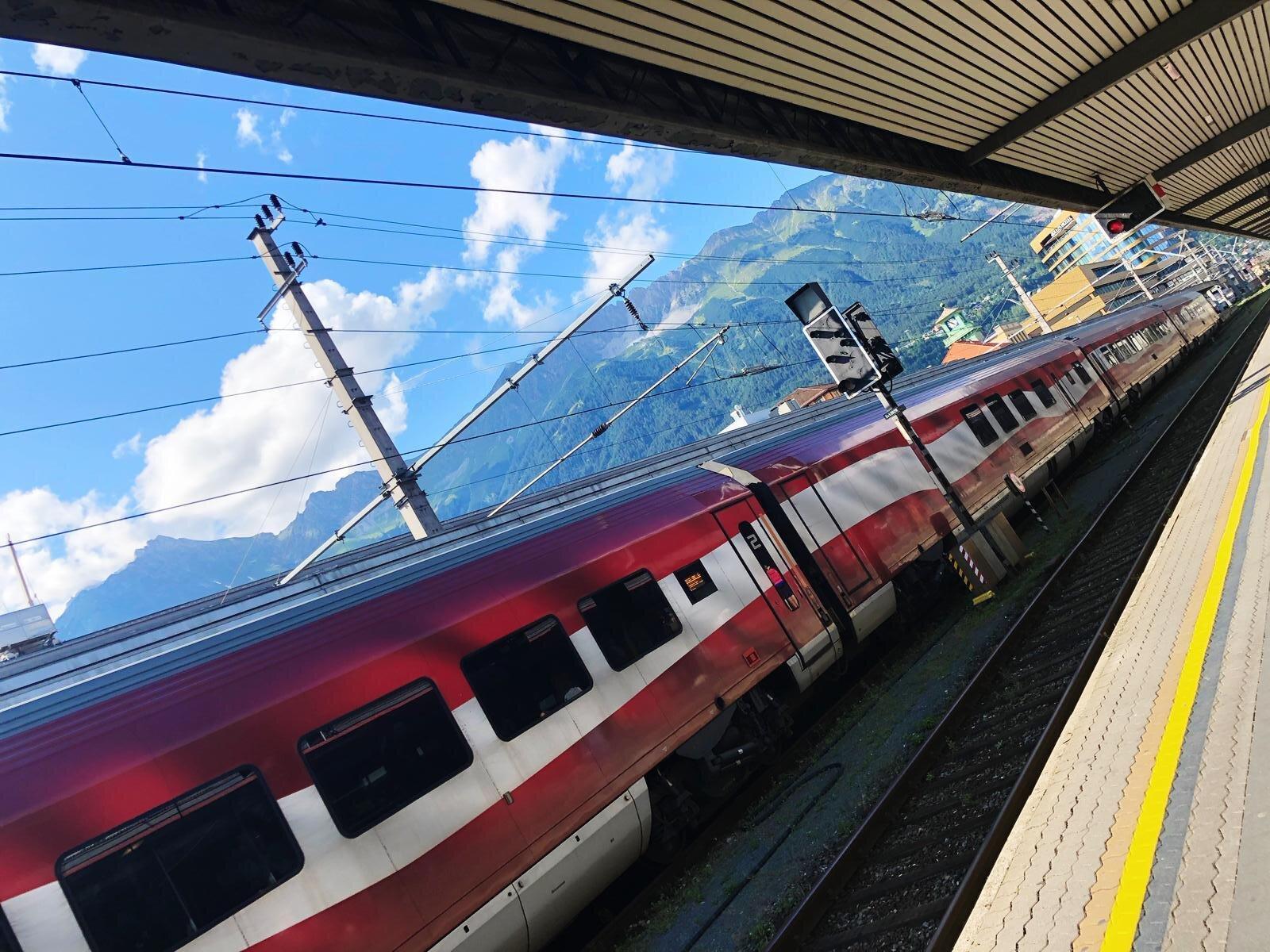 Train station in Innsbruck.