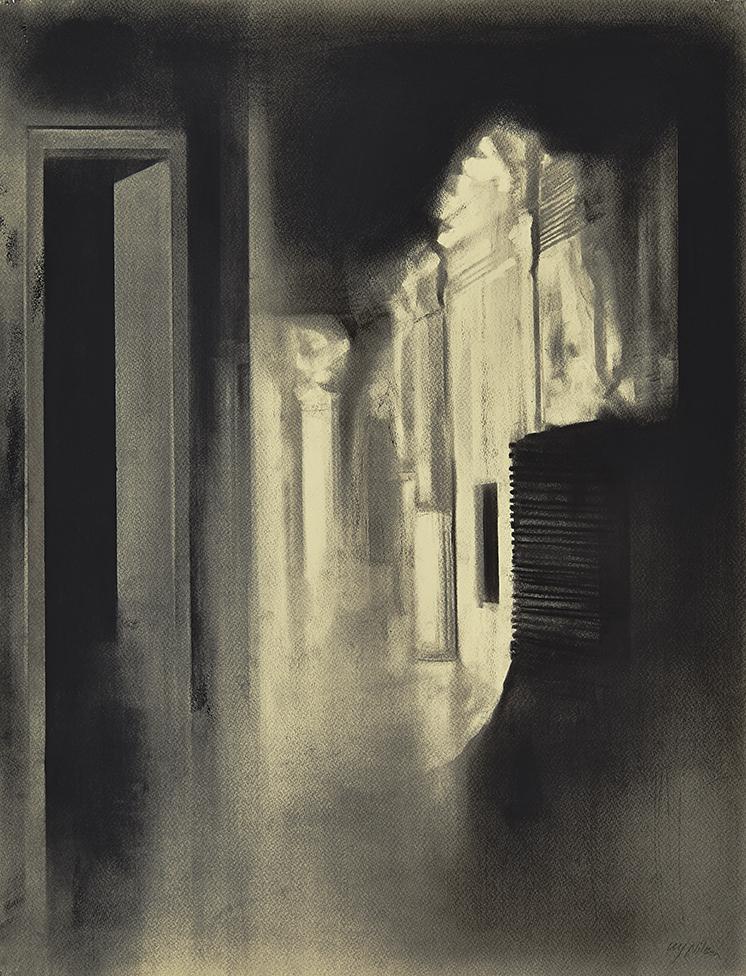 Night Light Charcoal on paper, 65 x 50 cm