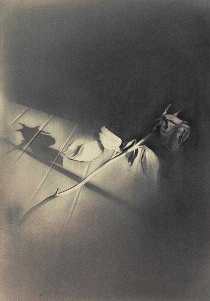 A rose is a rose is a rose is a rose IV, 2013 Charcoal on paper, 100 x 50 cm